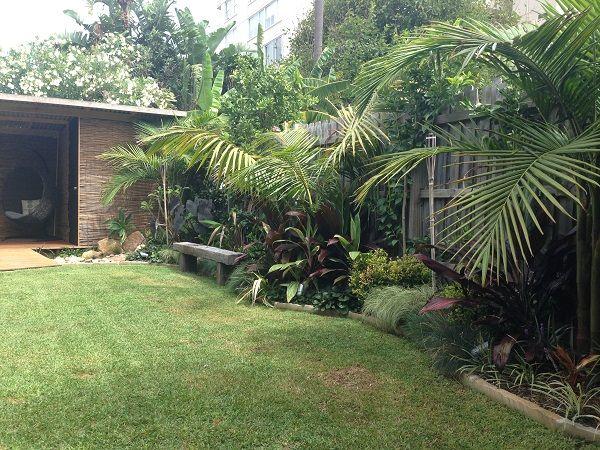 Oasis Garden Design wall fountain courtyard Tropical Oasis Garden Northern Beaches Balinese Style Landscapers Tropical Garden Design Balinese Garden