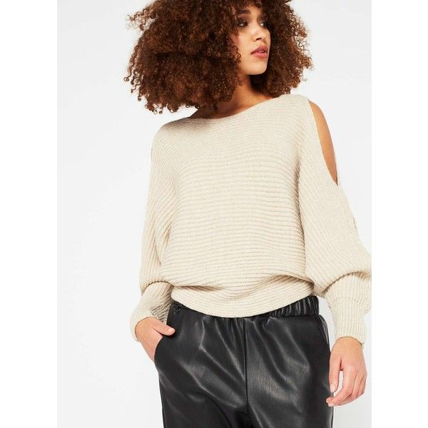 Miss Selfridge Oatmeal Slouchy Cut Out Knitted Jumper (36 CAD) ❤ liked on Polyvore featuring tops, sweaters, camel, oatmeal sweaters, cut out top, cut out sweater, camel top and jumpers sweaters
