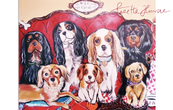 This was painted for a lady in Holland with all these cavalier dogs.