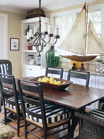GO EASY ON THE BOATS.  This one is a beautiful antique.  I like the nautical blue & white striped dining-room chair cushions.