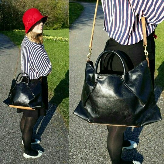 Twin Bay Bag  mk1 made by me with real vegtaned leather