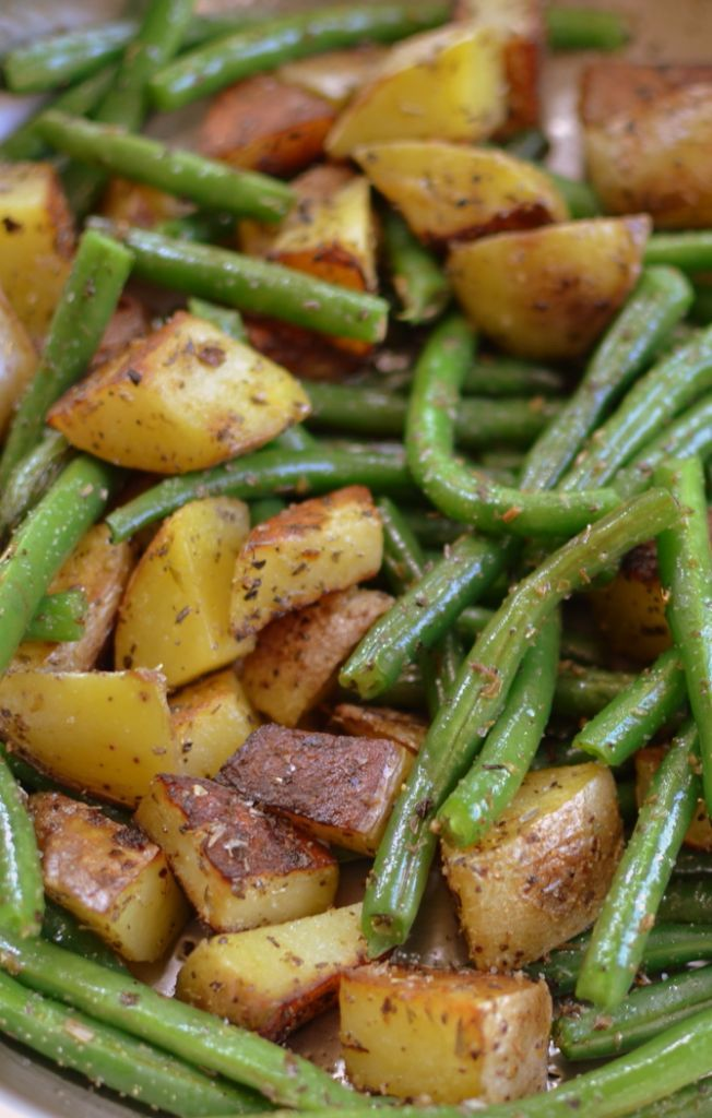 Pan Fried Potatoes and Green Beans are perfectly seasoned spuds fried in a little butter with crisp tender green beans sprinkled with salt & pepper.