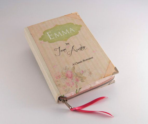 """Jane Austen """"Emma"""" Book clutch. With chain (http://www.etsy.com/listing/105539462/purse-chain?ref=shop_home_active&ga_search_query=chain)"""