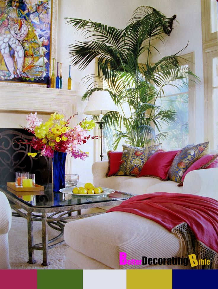 1000 images about colorful family rooms on pinterest for Palm tree living room ideas