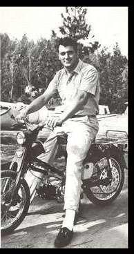 Rock Hudson on a Honda Motorcycle