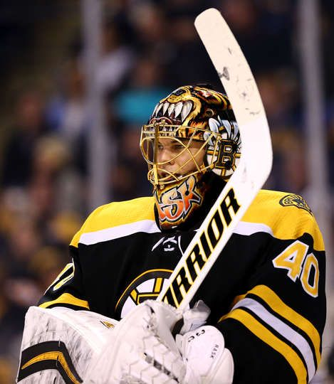 BOSTON, MA - DECEMBER 21: Tuukka Rask #40 of the Boston Bruins looks on during the second period against the Winnipeg Jets at TD Garden on December 21, 2017 in Boston, Massachusetts. (Photo by Maddie Meyer/Getty Images)