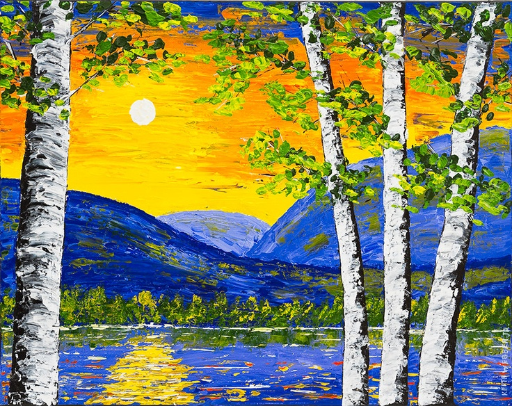 Original spring birch tree painting sunset over lake and for Spring canvas paintings