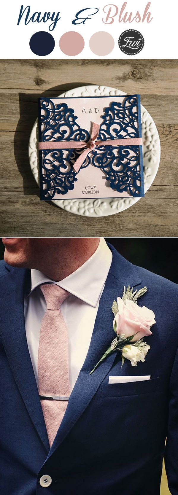 classic navy blue and dusty pink wedding color ideas