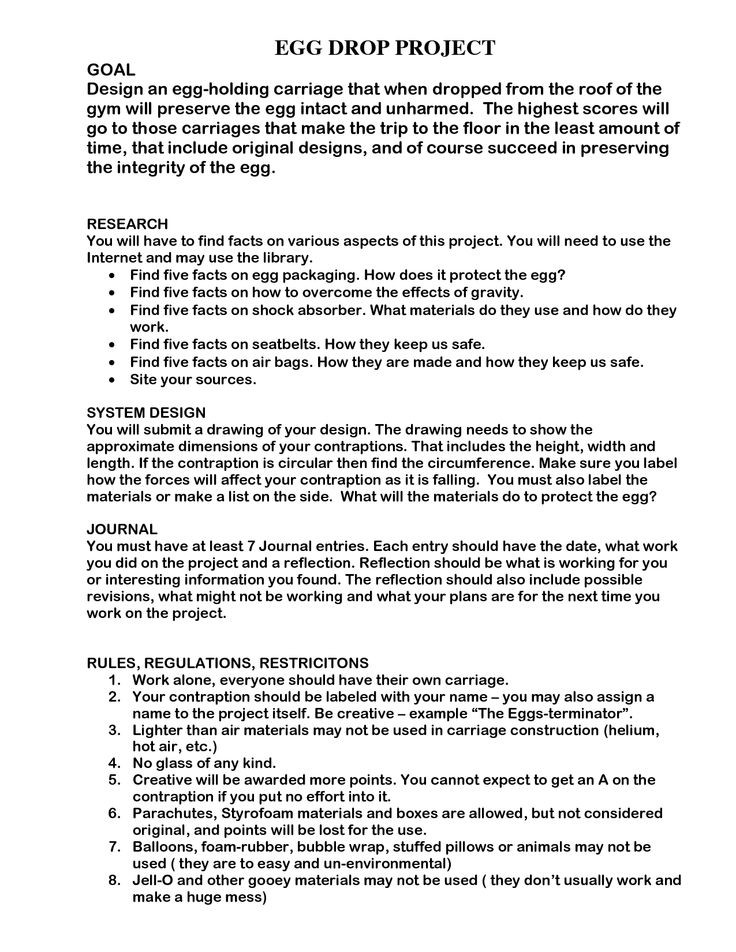 Egg Drop Project Doc | Experiments/ Projects | Pinterest | Egg