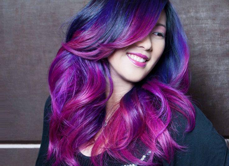 Модный фиолетовый цвет волос
