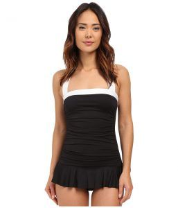 LAUREN Ralph Lauren Bel Aire Shirred Bandeau Skirted Mio Slimming Fit w/ Soft Cup (Black) Women's Swimsuits One Piece