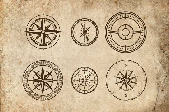 Compass Vectors by Emily Carlton on Creative Market