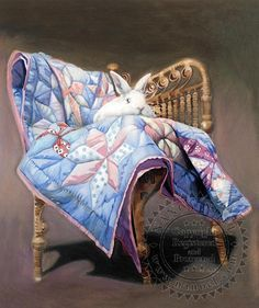 Bunny on Blue Quilt - All - The Sanctuary: The Art of Nancy Noel