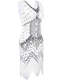PrettyGuide Damen 1920er Jahre V-Ausschnitt Sequin Art Deco Gatsby Inspiriert Flapper-Kleid