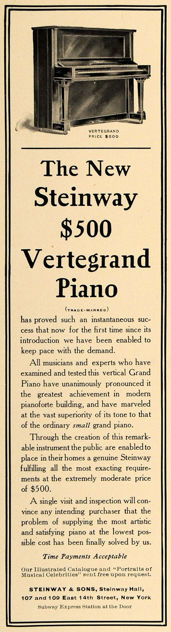1905 Ad Steinway Sons Vertegrand Piano Pricing New York - ORIGINAL CL7