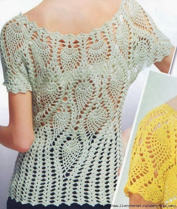 Crochet Free Patterns Blouse : Blusa de Crochet - ponto abacax? Stitches, Charts and ...