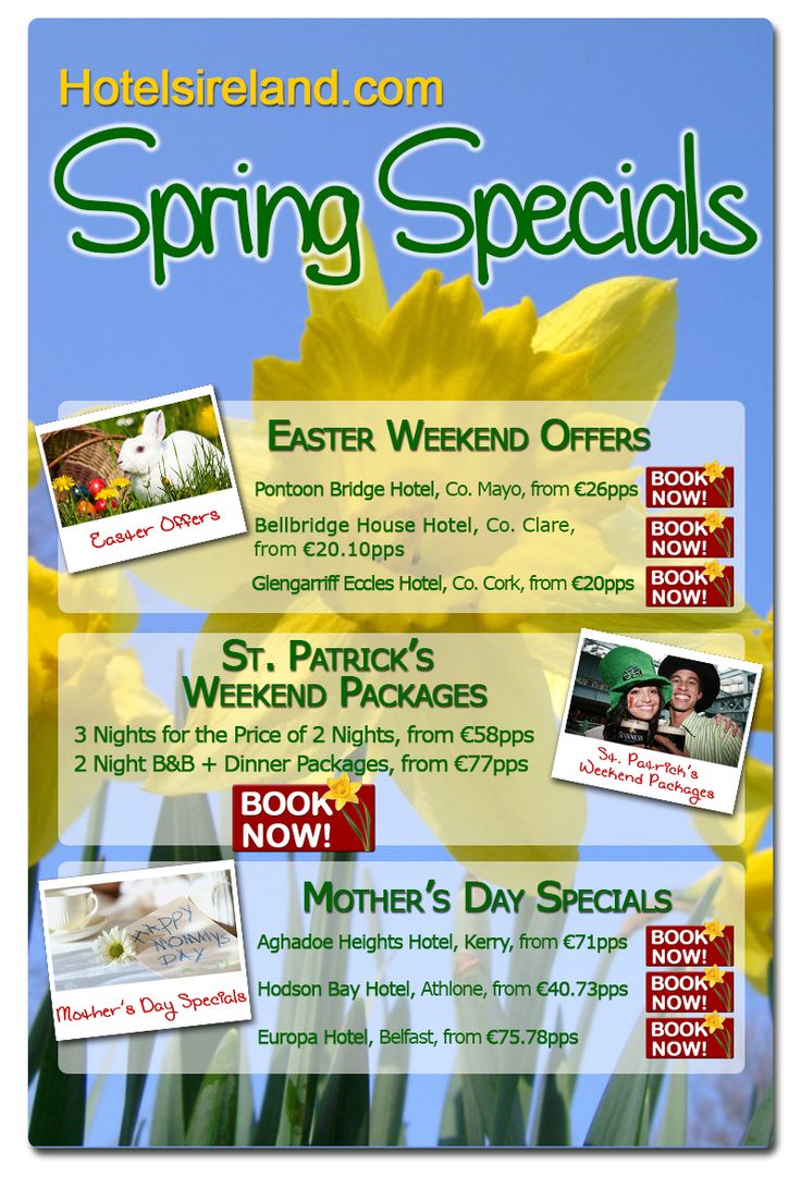 Spring Specials on Hotelsireland.com! Check out our latest newsletter here: http://communicatoremail.com/In/1LW8NWAarRNHqy6FrwMVFsqJptIgswVc/FB/
