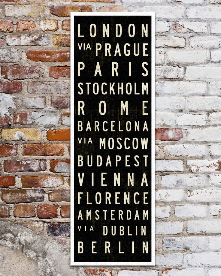 Subway art with popular European Cities. Great travel gift! Fits in standard 12 x 36 Frame.
