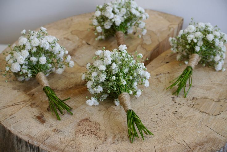 Gyp buttonholes, with natural twine, created by Wild Floral Designs.