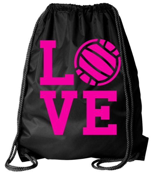 Amazon.com: Large Black Volleyball Love Drawstring Gym Bag: Clothing