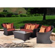 Sit back and relax in comfortable style in the Summernight Wicker 4-Piece Patio Conversation Set. The generously sized coffee table is accompanied by a roomy loveseat and two side chairs. The patio set is constructed with a steel frame covered by polyresin wicker. The coffee table is made from Envirostone, a premium blend of resin, stone powder and sand that looks and feels like real stone. http://www.vmarketingsite.com/blog/post/3551568