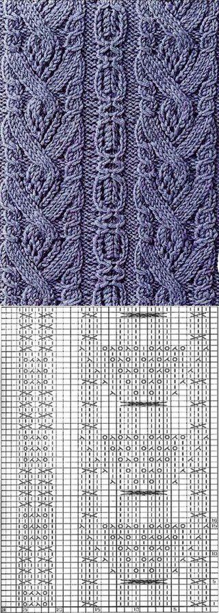 Схема вязания узора спицами ... ♥ Deniz ♥