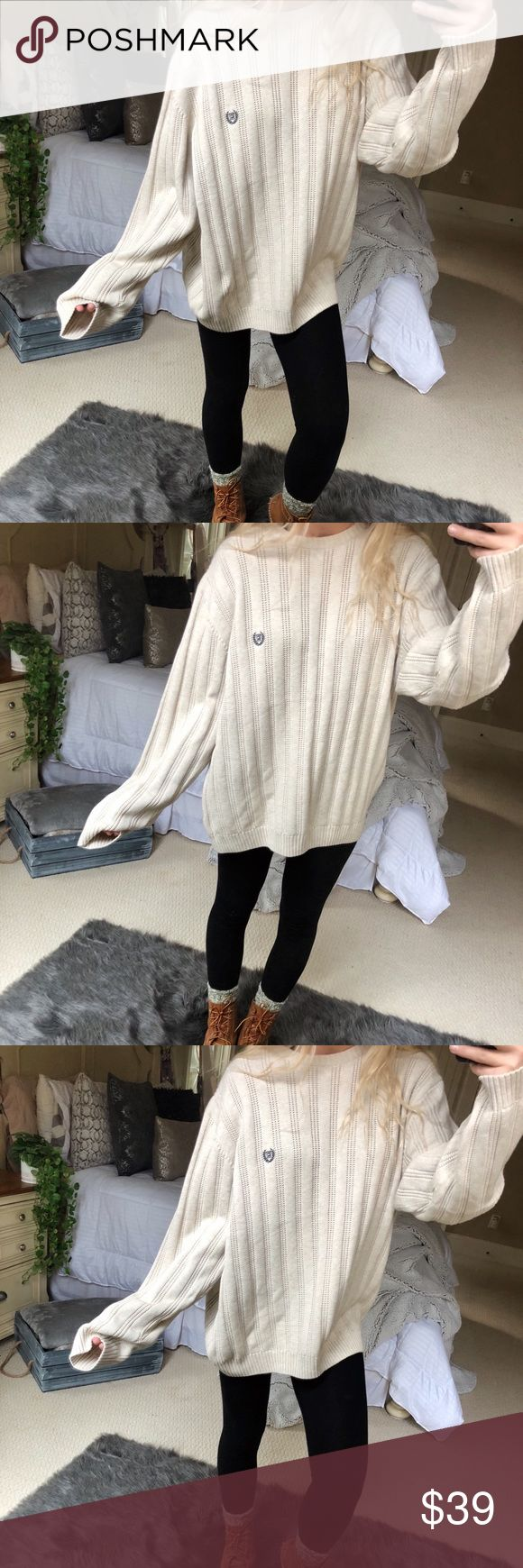 cream chunky knitted sweater beautiful chunky knitted cream chaps sweater. so cozy and high quality! fits a size medium or large ☕️✨🍂 — • all offers 100% welcomed + encouraged • bundle for a private discount of at least 20% off  • orders guaranteed to ship within 1-2 days unless stated otherwise • ask me any questions if you ever have any! xo Sweaters