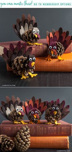 DIY Felt and Pinecone Turkey Craft www.LiaGriffith.com #DIYThanksgiving #ThanksgivingCrafts #DIYTurkey #TurkeyCrafts #FallCrafts #DIYFall #FallDIYIdeas
