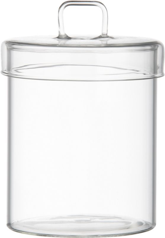 """$11 Qtips, Dental flossers modern apothecary.  Handmade in ultra durable chem-lab beaker glass, generously sized canister stows grooming essentials in clear view.  Tightly sealed lid is outfitted with square handle for easy opening. HandmadeBorosilicate (""""beaker"""") glassHand washMade in China."""