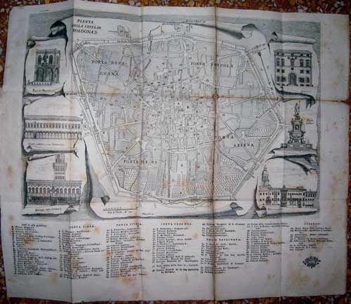 """FRANCESCO LONGHI / PIO PANFILI  """"Pianta della città di Bologna""""  Dall'opera: Informazioni alli forestieri delle cose più notabili della città, e stato, di Bologna. Bologna, 1791"""
