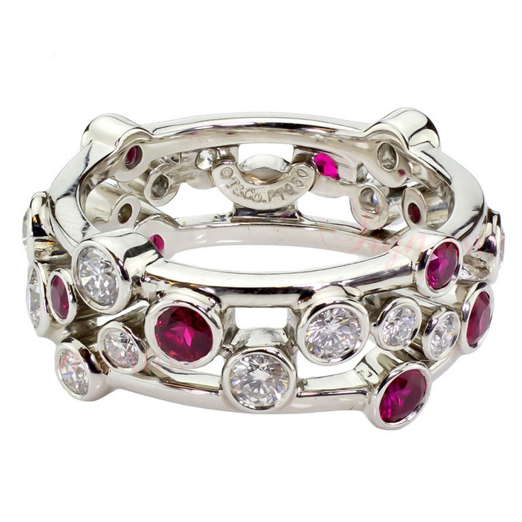 1stdibs | TIFFANY & CO. Ruby Diamond Platinum Bubbles Band Ring OMG Dream Ring... Tiffinay & Co needs to make at least one more of these for me