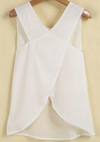 Blusa gasa espalda cruzada sin manga-blanco