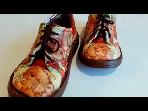 Как я переделала детские ботинки!СМОТРИТЕ видео ДО И ПОСЛЕ Декупаж детской обуви! - YouTube