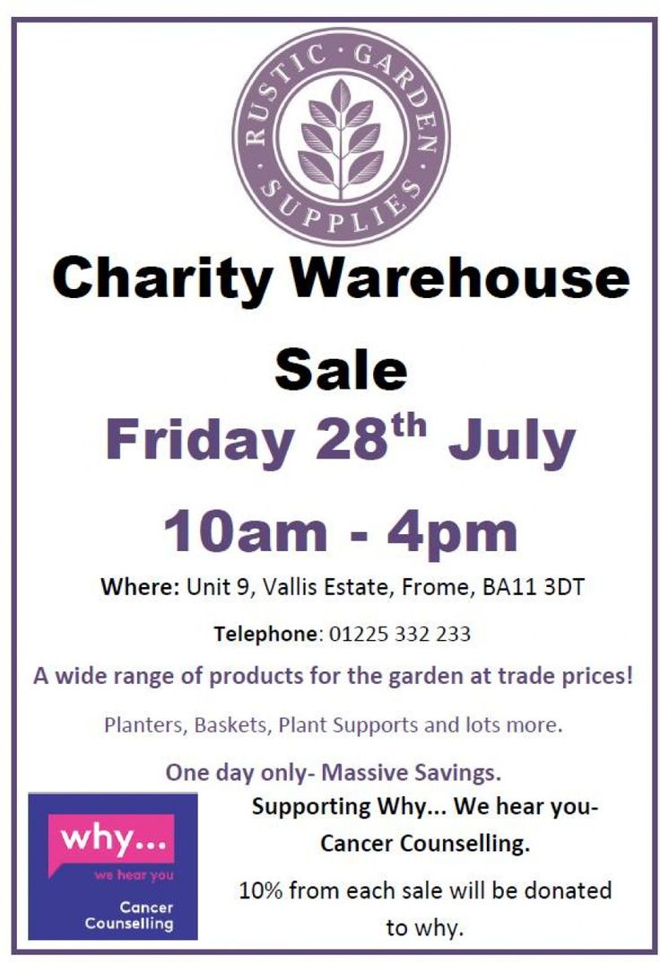 Charity Warehouse Sale in aid of Why- We Hear You. -- Frome -- 28/07