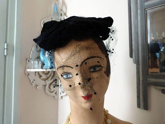 Antique French black velvet cocktail mini hat w dotted veil, sequins 1900s womens ladies hat accessories elegant head piece accessory France... Guaranteed! #what #womensaccessories #blackhat