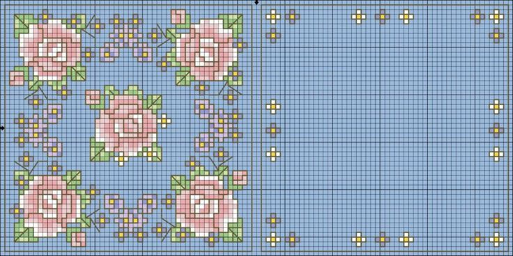 Shabby chic pattern - roses for mini cushion in cross stitch
