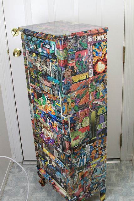 Up-cycling old furniture with comic books.