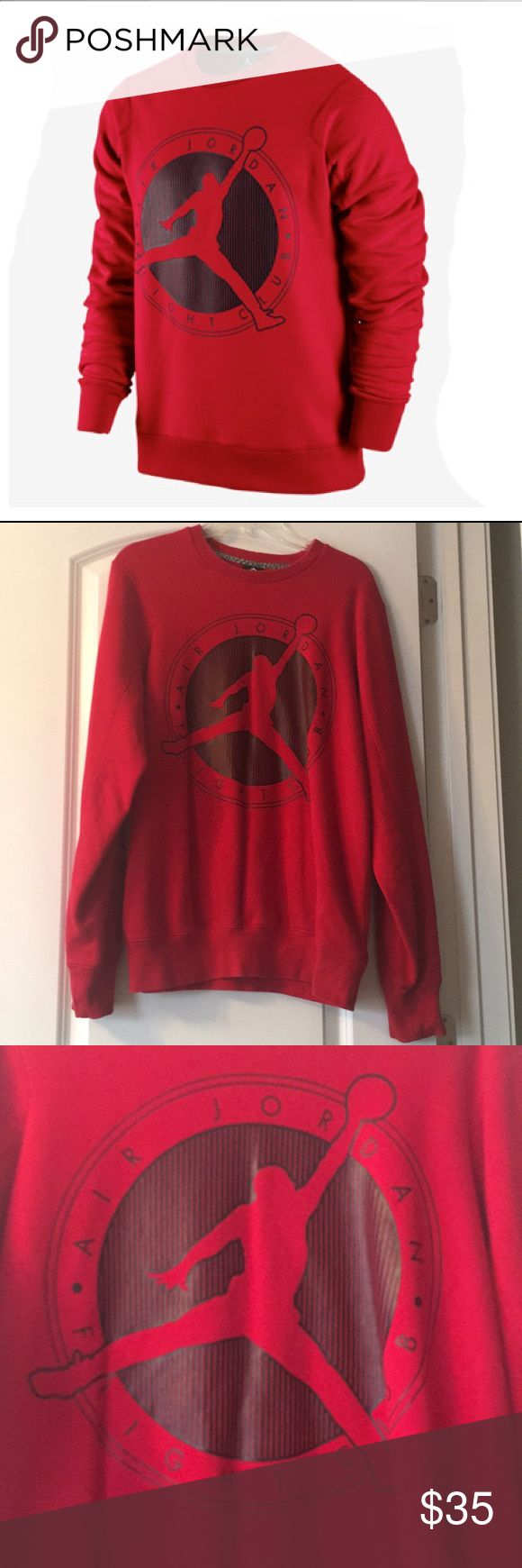 Red Jordan Crew Neck Sweatshirt Red Jordan Flight Club crew neck sweatshirt is in excellent condition. Has Jordan logo on the back. Jordan Shirts Sweatshirts & Hoodies