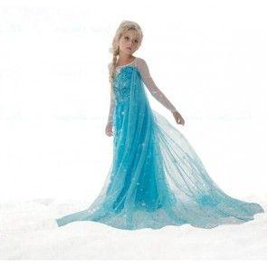 Reine des neiges: Robe Elsa bleue avec traine - 3 ans (100
