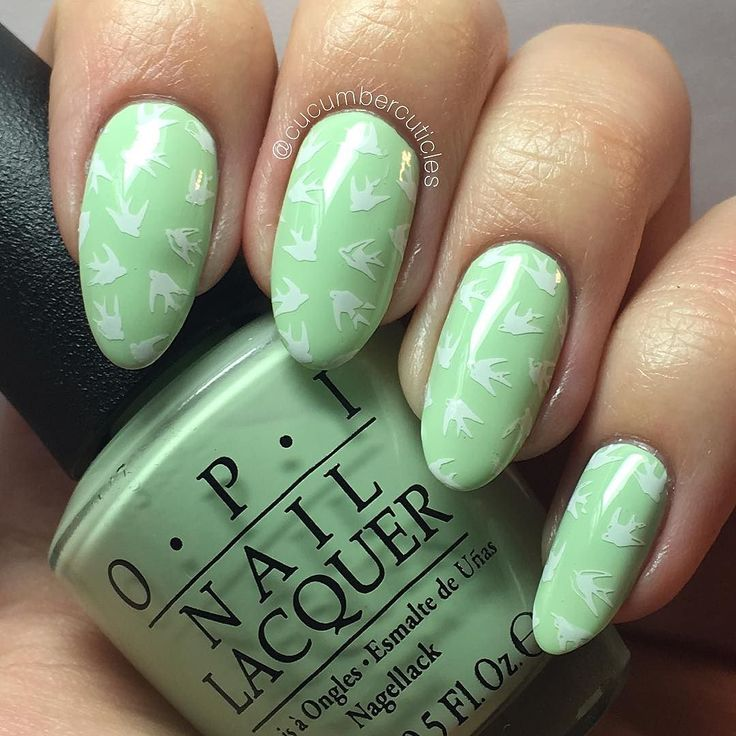Here is my mani with a little stamping added. The base is @opi_products That's Hula-rious!and I stamped using @moyou_london Hipster Collection 07 and their stamping polish White Knight. I love this swallow pattern it's so cute.  (I know that's a dove emoji but we're rolling with it ) Thanks for looking! #nails #nailart #nailpolish #nailstamping #stamping #swatch #opi #thatshularious #moyoulondon #hipster by cucumbercuticles