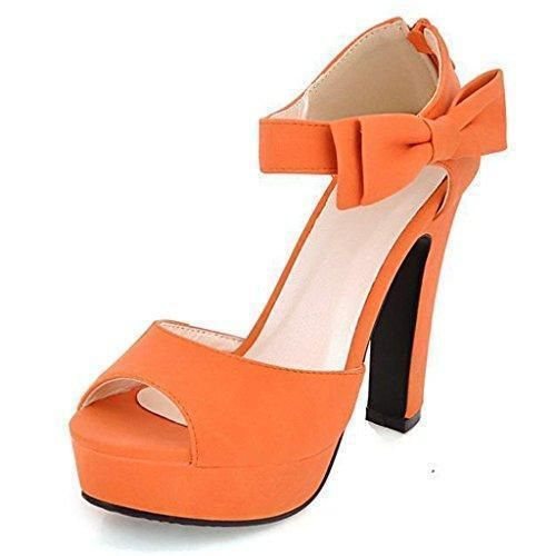 Oferta: 14.93€. Comprar Ofertas de Mine Tom Mujer Chicas Sandalias Elegantes Sandalias De Tacón Alto Con Bowknot Peep Toe Zapatos Naranja 39 barato. ¡Mira las ofertas!