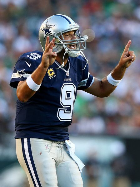 Tony Romo Photos Photos - Tony Romo #9 of the Dallas Cowboys calls out the play in the second quarter against the Philadelphia Eagles on September 20, 2014 at Lincoln Financial Field in Philadelphia, Pennsylvania. - Dallas Cowboys v Philadelphia Eagles