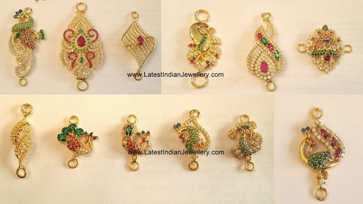 22 carat gold beautiful mopu or mugappu models studded with cz stones, rubies and emeralds. peacock design side pendants