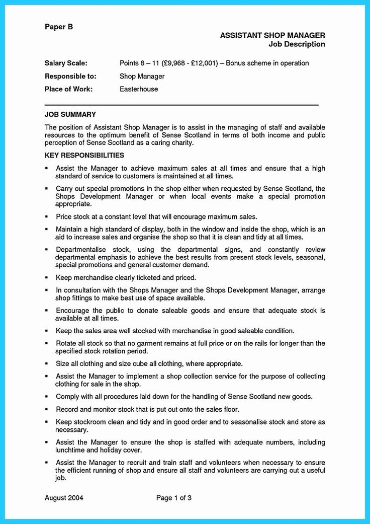 20 assistant Store Manager Resume in 2020 (With images