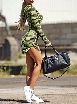Women's Camo Mini Dress - Hoodie in Green