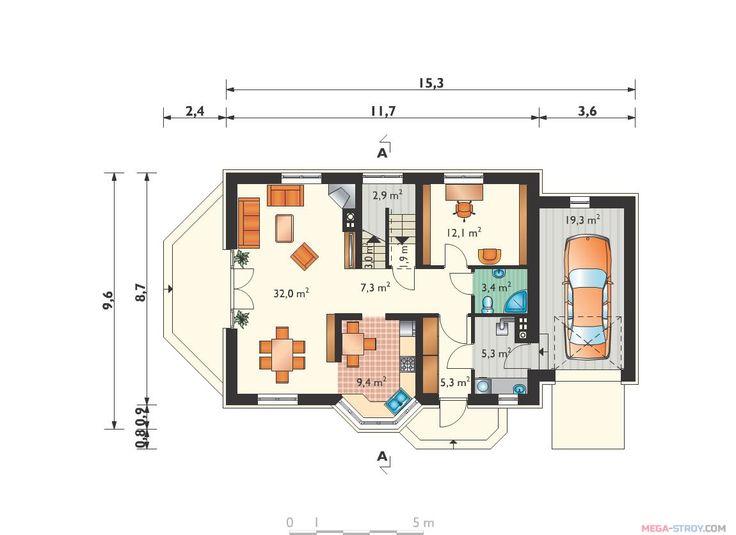 проект дома с панорамными окнами, планы этажей, План 1 этажа