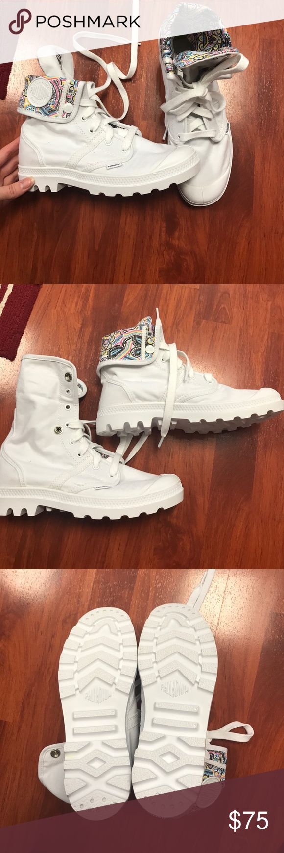 Brand new Palladium shoes- never worn!! These shoes are white and feature a paisley colorful design when folded. Can be worn folded or up. Never worn, I bought them a month ago and put off returning them until I realized it was past 30 days. Size 8.5. Palladium Shoes Lace Up Boots