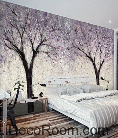 Beautiful dream romantic lavender abstract tree flower oil painting effect wall art wall decor mural wallpaper wall IDCWP-000230