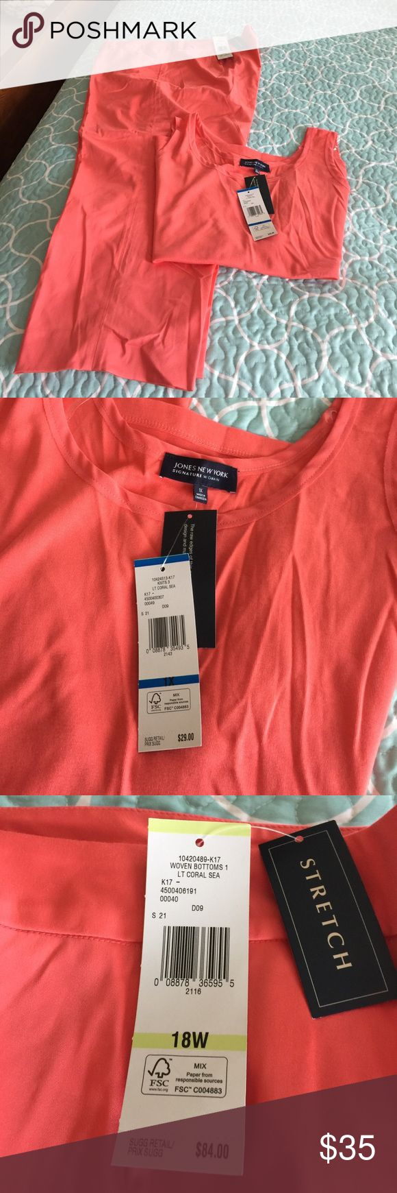 Matching coral capris & tank! NWT Color is light coral sea.....tank is 100% cotton.....capris are 98%. Cotton with 2% elastane so they stretch! Perfect for these hot temps! Jones New York Other