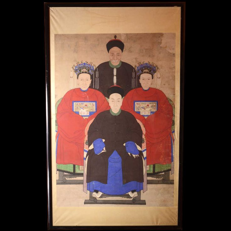 This family of dignitaries painting on rice paper belongs to the long tradition of Chinese paintings of ancestors. Probably it was commissioned when the head of household, the character in the foreground, was promoted in the political rank. Long nails are to show that he does not do any manual work. The two women, who are probably the wife and a concubine, another symbol of high rank, are holding the emblem of the family which depicts a white bird, imperial symbol, and wear an elaborate…